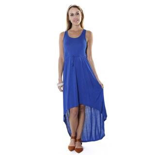 Hadari Women's Contemporary Blue High Low Sleeveless Maxi Dress