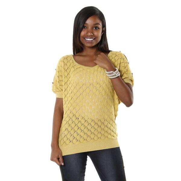 Hadari Women's Mustard Dolman Open Knit Blouse