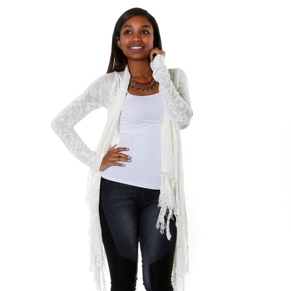 Hadari Women's Ivory Long Sleeve High Low Knit Cardigan