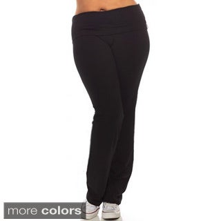 Tabeez Women's Foldover Flared Bottom Yoga Pants
