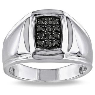 Sterling Silver Men's 1/5ct TDW Black Diamond Ring