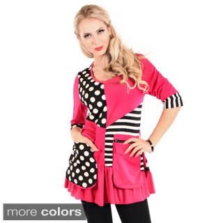 Firmiana Women's 3/4 Sleeve Polka Dot/ Stripe Top