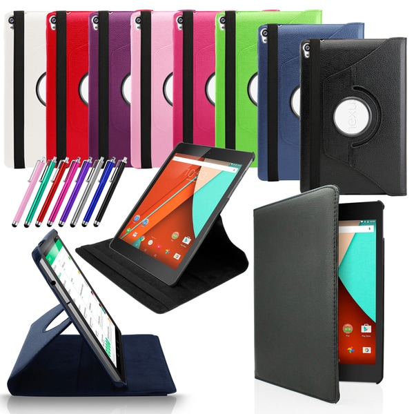 Gearonic 360 Rotating PU Leather Case Skin Cover for Google Nexus 9 Tablet