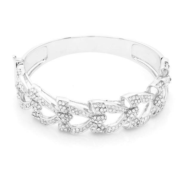 Silver Overlay Crystal Bow Tie Bangle Bracelet