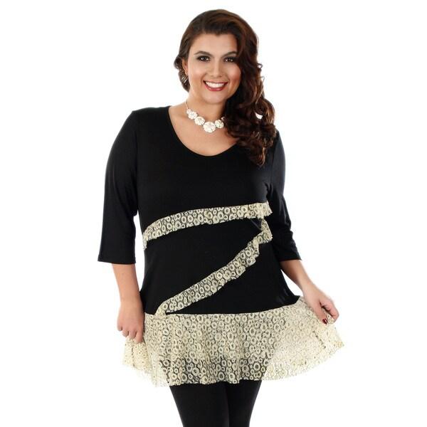 Firmiana Women's Plus-size 3/4 Sleeve Black/ Cream Lace Top