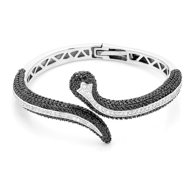 Sterling Silver Black and White Cubic Zirconia Snake Bangle Bracelet