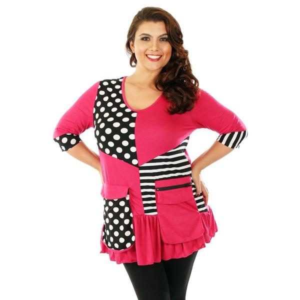 Firmiana Women's Plus-size 3/4 Sleeve Polka Dot/ Stripe Top