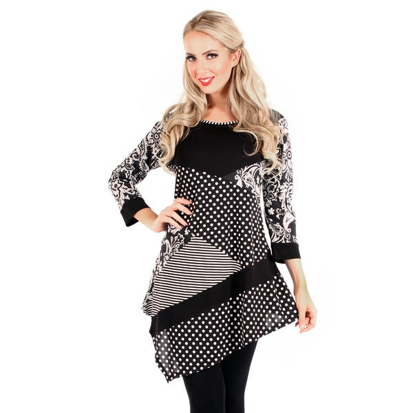 Firmiana Women's 3/4 Sleeve Black/ White Polka Dot/ Stripe Top