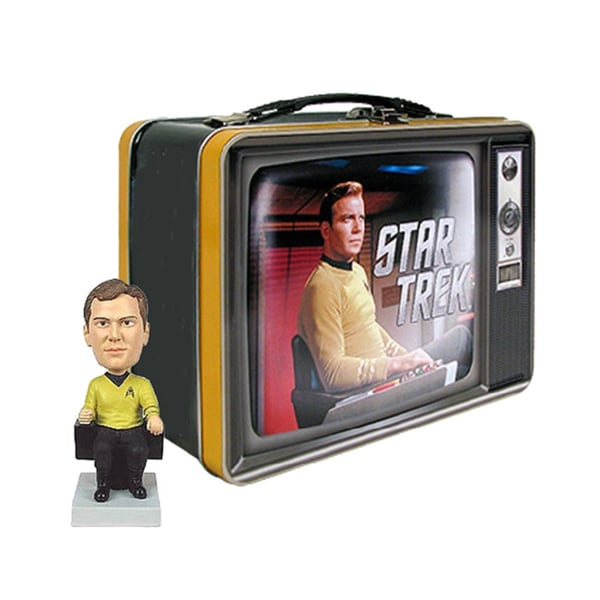 Star Trek Collectors Tin Lunch Box with William Shatner Monitor Mate Figurines