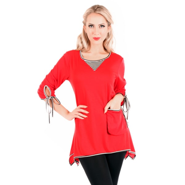 Firmiana Women's 3/4 Sleeve Red Top