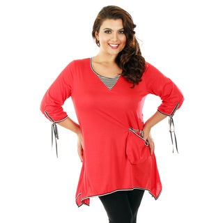 Women's Plus Size 3/4 Sleeve Red Top