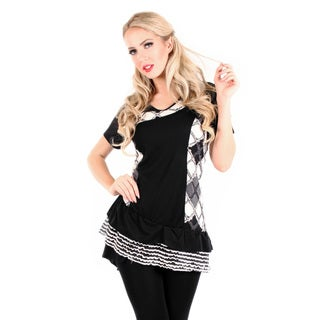 Women's Short Sleeve Black/ White Argyle Top