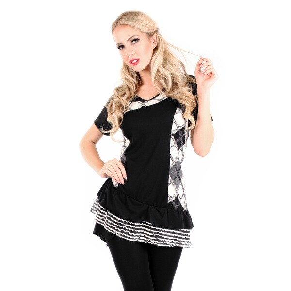 Firmiana Women's Short Sleeve Black/ White Argyle Top