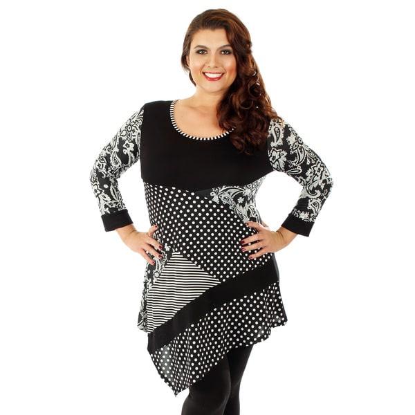 Firmiana Women's Plus Size 3/4 Sleeve Black & White Top with Polka Dot & Stripe