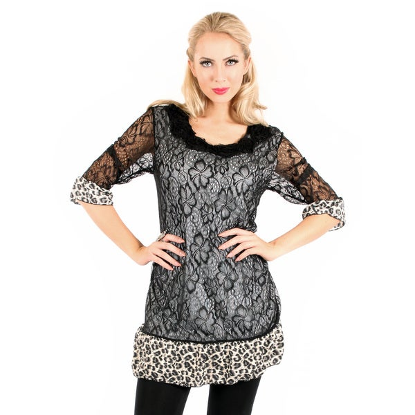 Firmiana Womans 3/4 Sleeve Black Lace Top with Leopard Pattern Print Ruffle