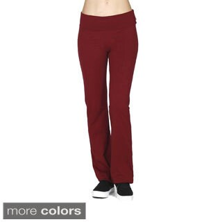 Tabeez Women's Foldover Flared Yoga Pants