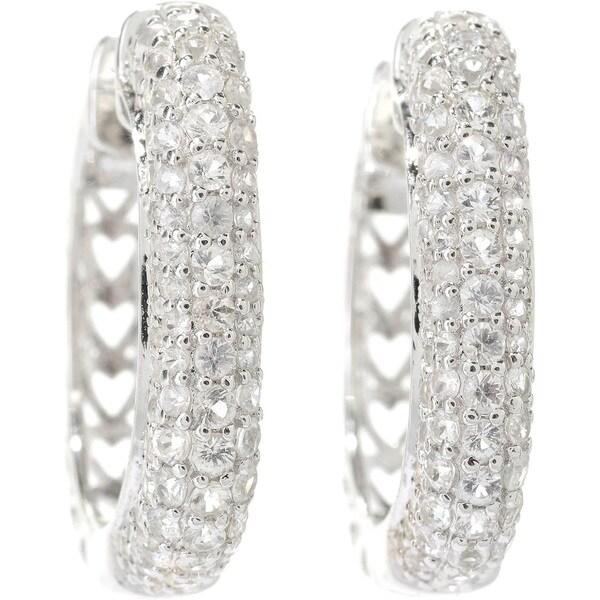 Sterling Silver Round Sapphire Hoop Earrings 14758820