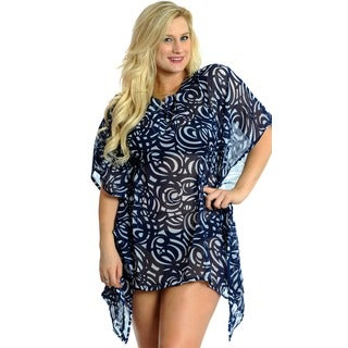 La Leela Women's Sequin Chiffon Beach Swim Cover-up Kaftan Tunic