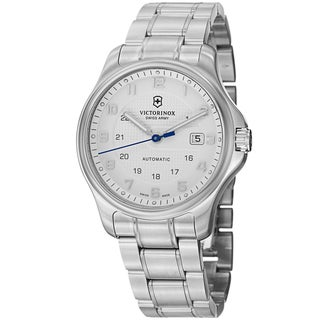 Swiss Army Men's V241673.1 'Officers' Silver Dial Stainless Steel Automatic With Pocket Knife Watch