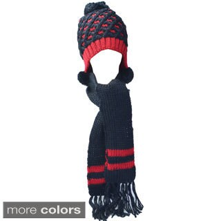 Kate Marie 'Genie' Cable Knit Pompom Beanie/ Scarf Set