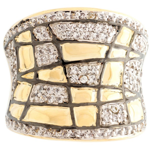 Gold Overlay Artisan Cubic Zirconia Ring