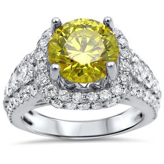 18k Gold 3 5/8ct TDW Canary Yellow Round Diamond Engagement Ring (F-G, SI1-SI2)