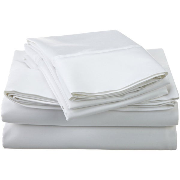 Egyptian Cotton White 1200 Thread Count Solid Deep Pocket Cal-King Size Sheet Set (As Is Item)