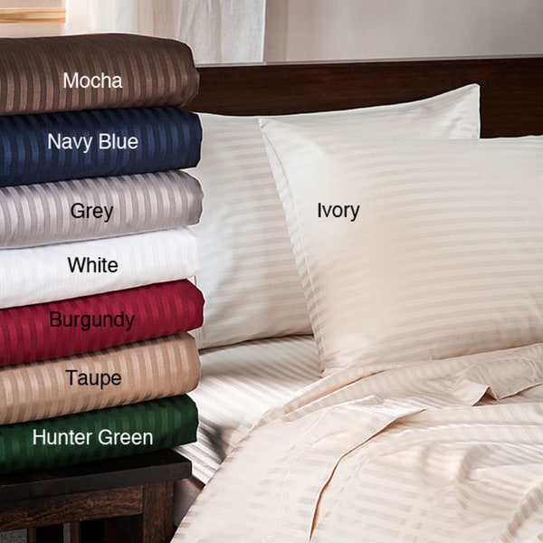 Egyptian Cotton 400 Thread Count Cal-King Navy Blue Striped Sheet Set (As Is Item)