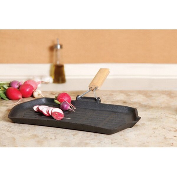 Cast iron griddle grill with wooden handles 16968400 for La cuisine 29 x 26cm cast iron grill pan