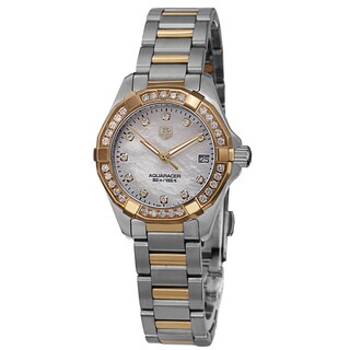 Tag Heuer Women's WAY1453.BD0922 '300 Aquaracr' Mother of Pearl Diamond Dial Two Tone Bracelet Quartz Watch