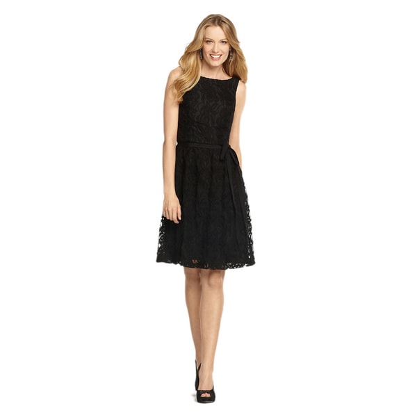 Dessy Collection Women's 'Natalie' Guipure Black Lace Party Dress - Size 2 (As Is Item)