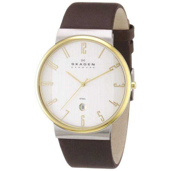 Skagen Men's 355XLGLD Classic Round Brown Strap Watch