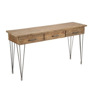 Aurelle Home Rustic Iron and Wood Console Table