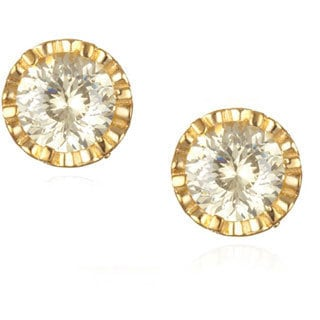Gold over Silver Canary and White Cubic Zirconia Faceted Stud Earrings