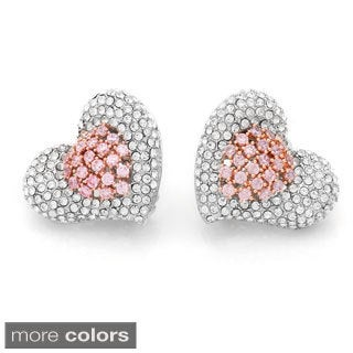 Silvertone Pave Crystal Heart-shaped Stud Earrings