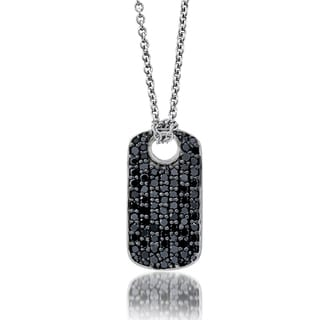 Platinum over Silver 4/5ct TDW Black Diamond Dog Tag Necklace