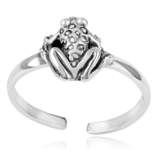 Journee Collection Sterling Silver Adjustable Frog Toe Ring