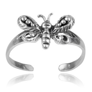 Journee Collection Sterling Silver Adjustable Dragonfly Toe Ring