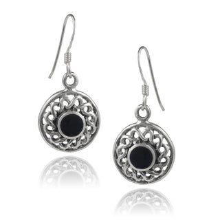 Journee Collection Sterling Silver Onyx Celtic Round Dangle Earrings