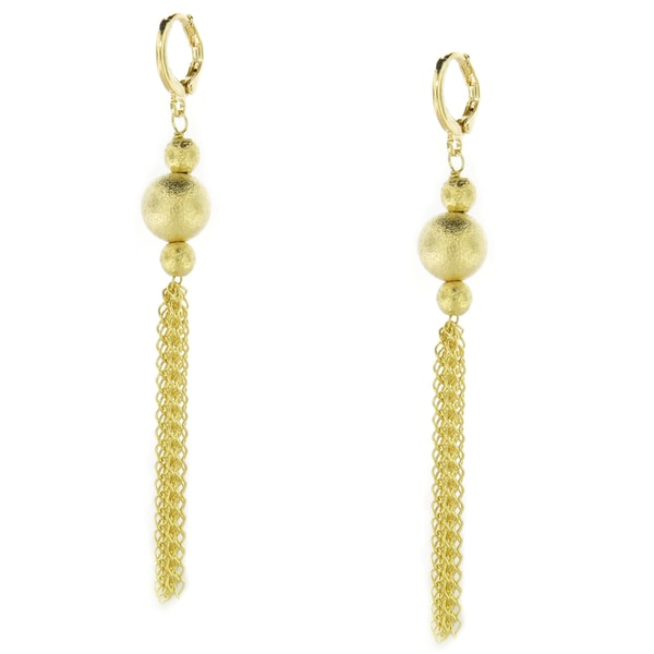 18-Karat Gold-plated Textured Bead Ball with Chain Tassel Dangle Earrings (Brazil)