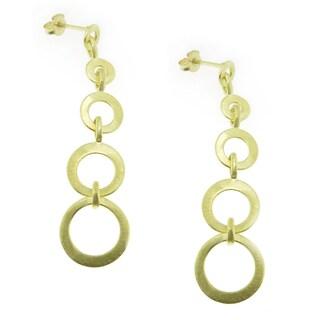 18-Karat Gold-plated Satin Finish Graduating Circles Dangle Earrings (Brazil)