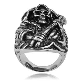 Vance Co. Oxidized Stainless Steel Men's Skull Ring