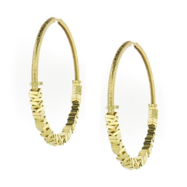 18-Karat Gold-plated Satin Finish Square Beads Hoop Earrings (Brazil)