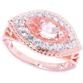 18k Rose Gold Marquise Morganite White Zircon Ring
