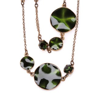 Antiqued Bronzetone Rippled Green Disc Necklace