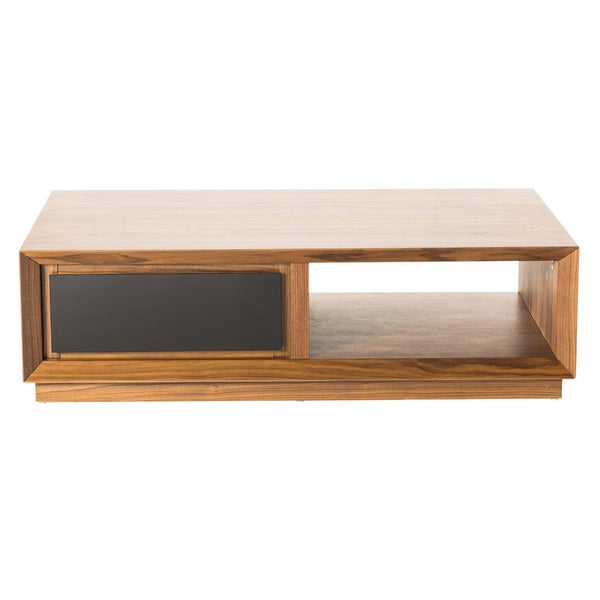 Aurelle Home Cusingan Walnut Coffee Table with Glass Drawer