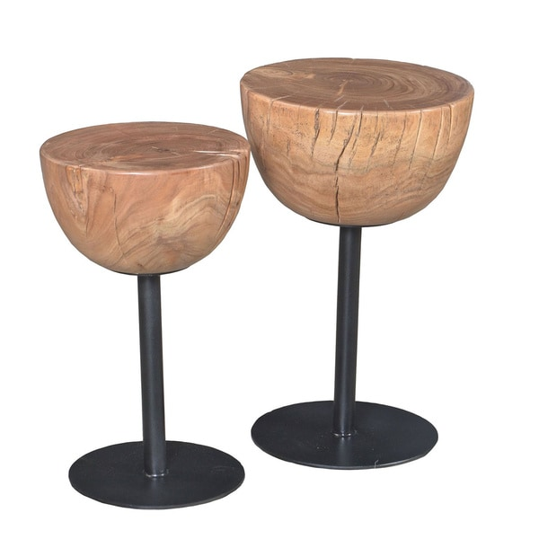 Aurelle Home Alison Solid Wood Accent Tables (Set of 2)