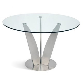 Aurelle Home Ronnie Round Glass Dining Table