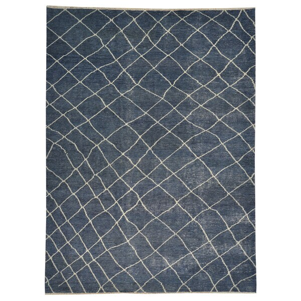 Modern Distress Design Denim Blue Oriental Wool Rug (8'10 x 12'0)