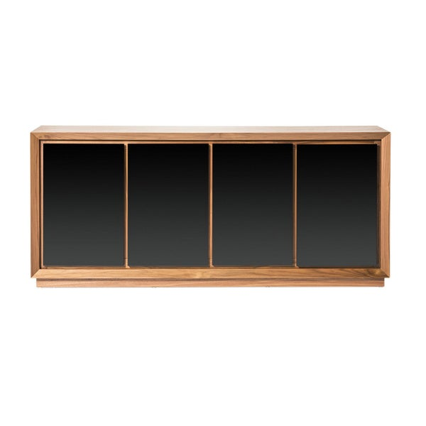 Aurelle home cusingan walnut wood sideboard with glass front for Sideboard glasfront
